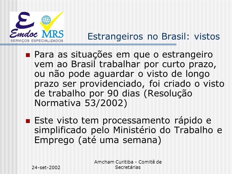 24-set-2002 Amcham Curitiba - Comitê de Secretárias Estrangeiros no Brasil: vistos Para as situações em que o estrangeiro vem ao Brasil trabalhar por