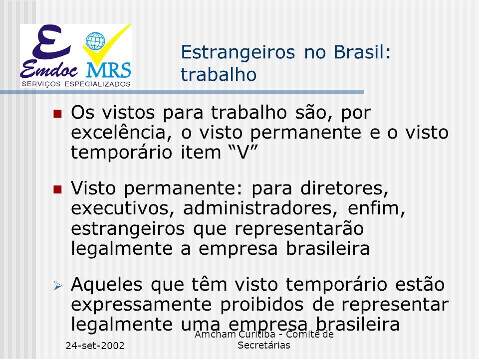 24-set-2002 Amcham Curitiba - Comitê de Secretárias Estrangeiros no Brasil: trabalho Os vistos para trabalho são, por excelência, o visto permanente e