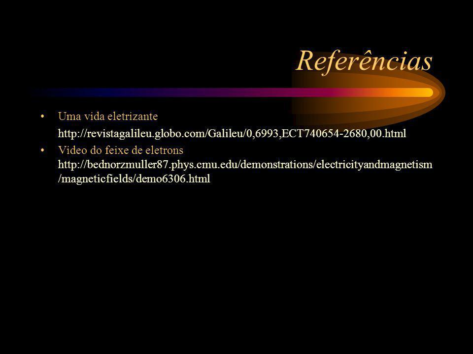 Referências Uma vida eletrizante http://revistagalileu.globo.com/Galileu/0,6993,ECT740654-2680,00.html Video do feixe de eletrons http://bednorzmuller