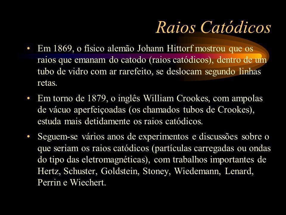 Raios Catódicos Em 1869, o físico alemão Johann Hittorf mostrou que os raios que emanam do catodo (raios catódicos), dentro de um tubo de vidro com ar