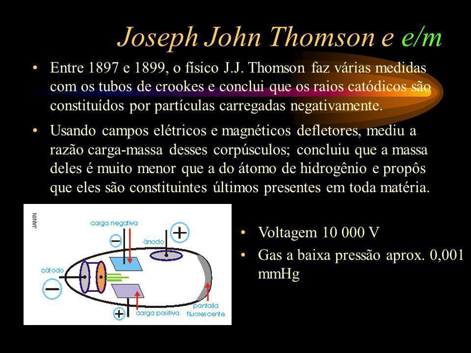 Joseph John Thomson e e/m Entre 1897 e 1899, o físico J.J. Thomson faz várias medidas com os tubos de crookes e conclui que os raios catódicos são con