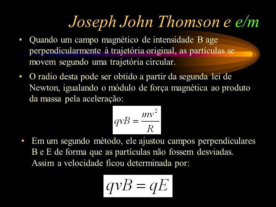 Joseph John Thomson e e/m Quando um campo magnético de intensidade B age perpendicularmente à trajetória original, as partículas se movem segundo uma