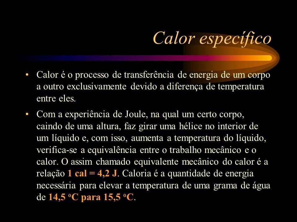 Calor específico Calor é o processo de transferência de energia de um corpo a outro exclusivamente devido a diferença de temperatura entre eles. Com a
