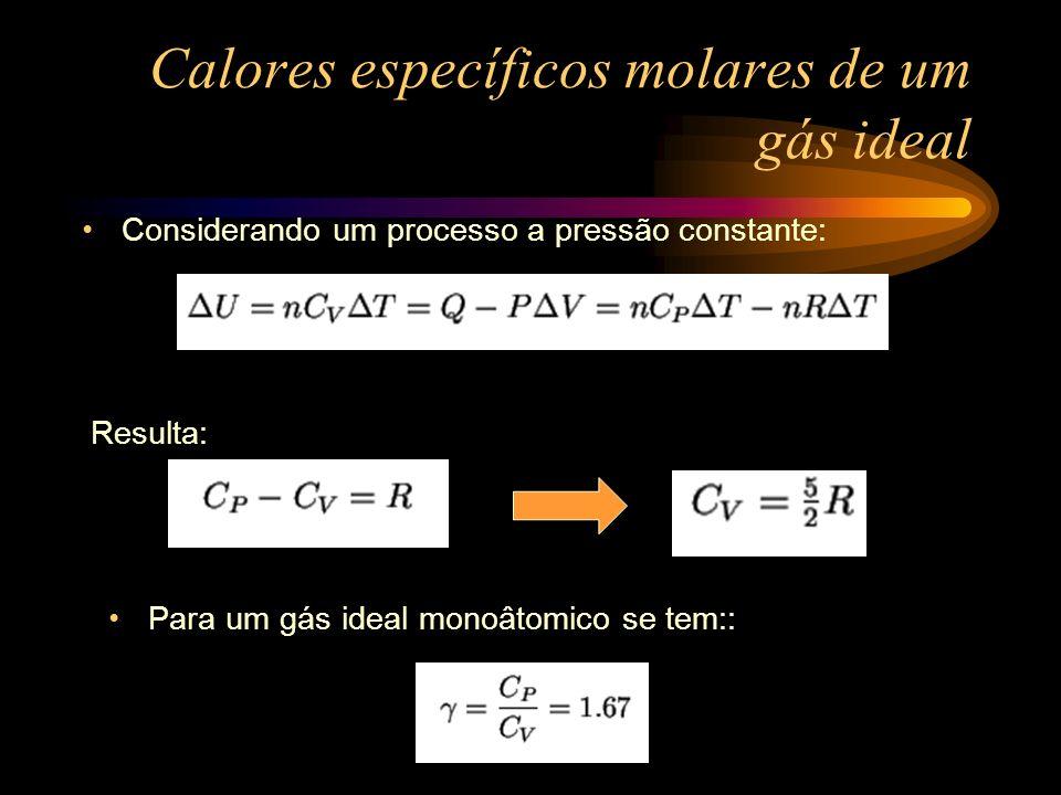 Capacidades térmicas molares 20 o C e 1 atm A tabela a seguir mostra que o modelo de esfera rígida é um bom modelo para as moléculas de hélio e argônio a 20 o C.