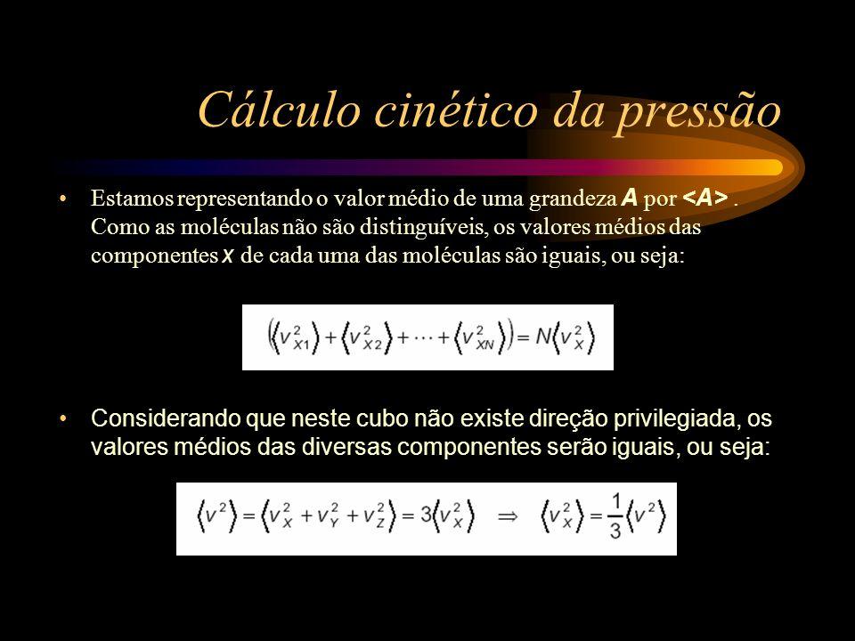 Cálculo cinético da pressão Considerando que neste cubo não existe direção privilegiada, os valores médios das diversas componentes serão iguais, ou s