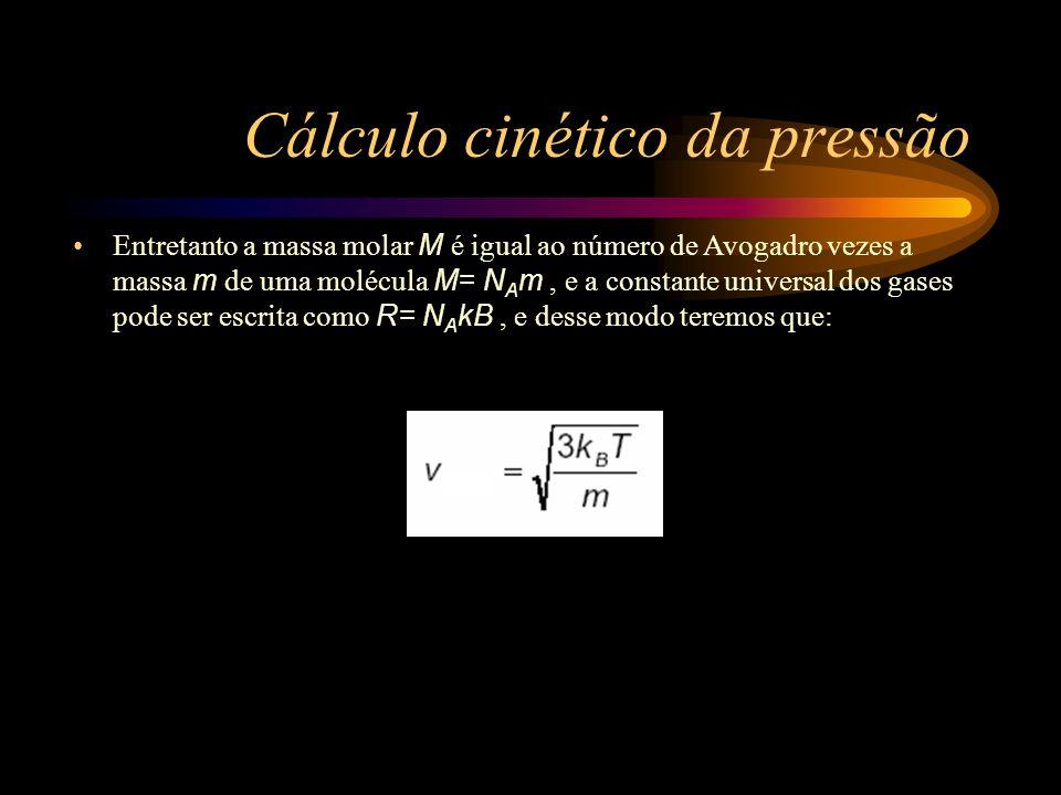 Cálculo cinético da pressão Entretanto a massa molar M é igual ao número de Avogadro vezes a massa m de uma molécula M= N A m, e a constante universal