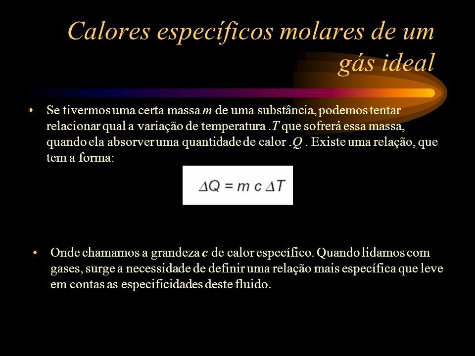 Calores específicos molares de um gás ideal Se tivermos uma certa massa m de uma substância, podemos tentar relacionar qual a variação de temperatura.