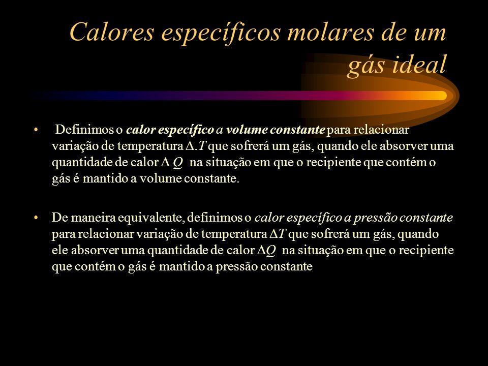 Calores específicos molares de um gás ideal Definimos o calor específico a volume constante para relacionar variação de temperatura. T que sofrerá um