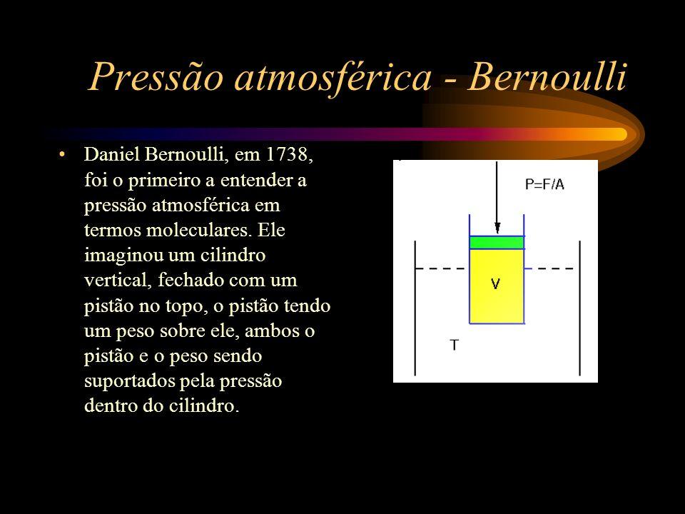 Pressão atmosférica - Bernoulli Ele descreveu o que ocorria dentro do cilindro da seguinte forma: imagine que a cavidade contenha partículas muito pequenas, que movimentam-se freneticamente para lá e para cá, de modo que quando estas partículas batam no pistão elas o sustentam com repetidos impactos, formando um fluido que expande sobre si caso o peso for retirado ou diminuído...