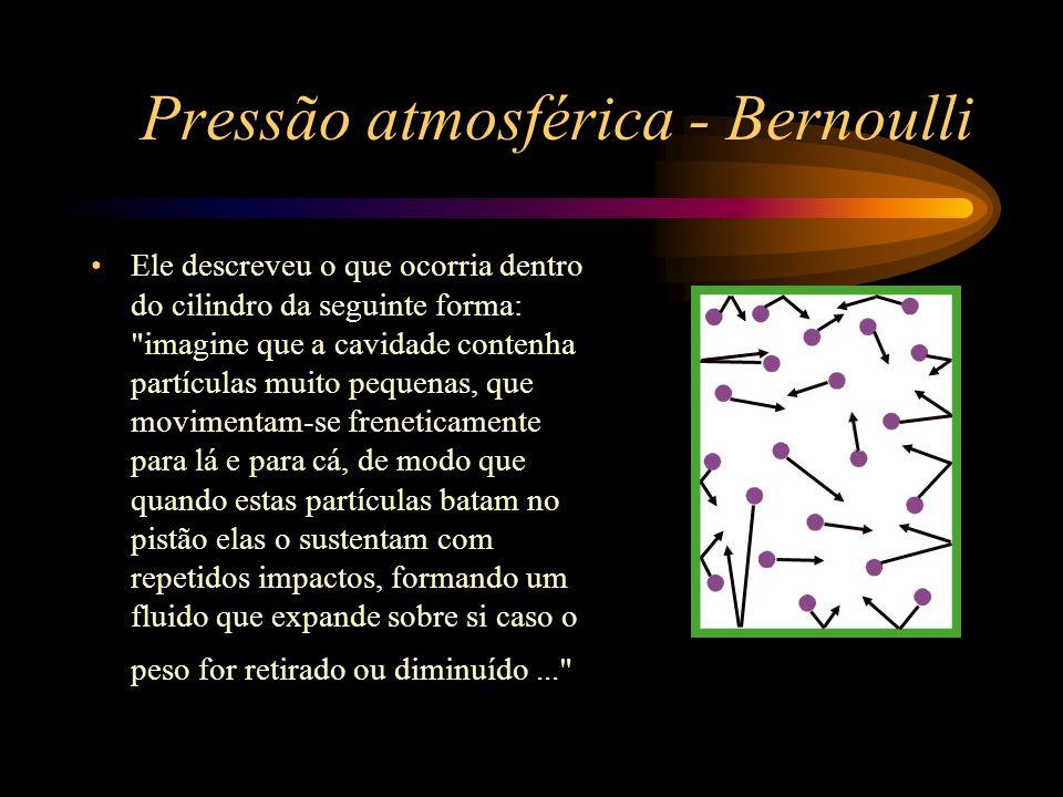 Pressão atmosférica - Bernoulli Ele descreveu o que ocorria dentro do cilindro da seguinte forma: