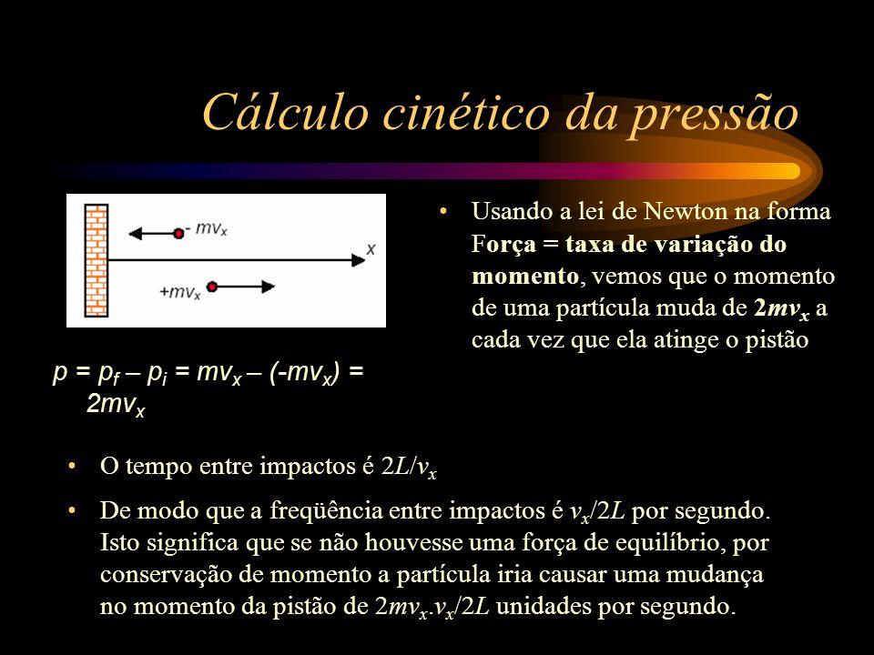 Cálculo cinético da pressão Isto é a taxa de variação do momento, e logo deve ser igual à força de equilíbrio, que é portanto: F = mv x 2 /L Agora podemos generalizar ao caso de muitas partículas (N) que movimentam-se freneticamente dentro de uma caixa retangular de comprimento L na direção x (que é ao longo de uma das arestas do cubo).