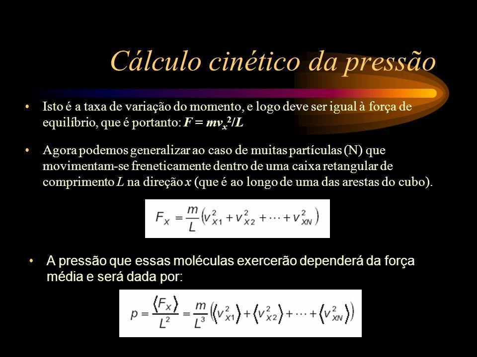 Cálculo cinético da pressão Considerando que neste cubo não existe direção privilegiada, os valores médios das diversas componentes serão iguais, ou seja: Estamos representando o valor médio de uma grandeza A por.