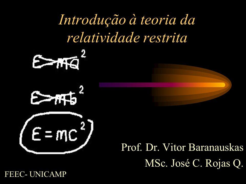 Introdução à teoria da relatividade restrita Prof. Dr. Vitor Baranauskas MSc. José C. Rojas Q. FEEC- UNICAMP