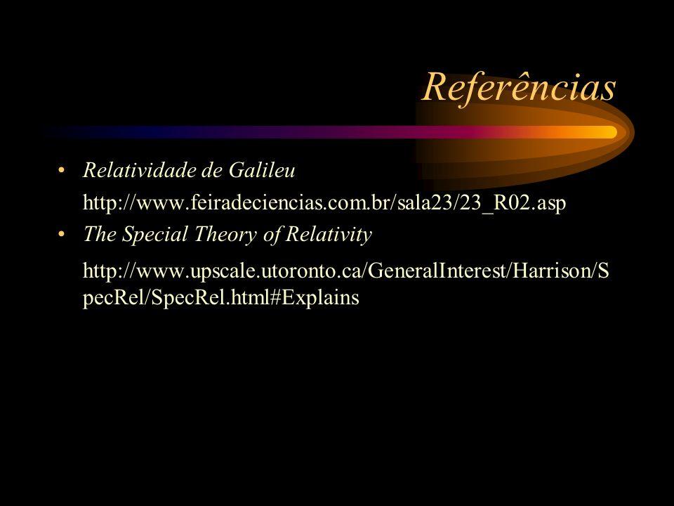 Referências Relatividade de Galileu http://www.feiradeciencias.com.br/sala23/23_R02.asp The Special Theory of Relativity http://www.upscale.utoronto.c