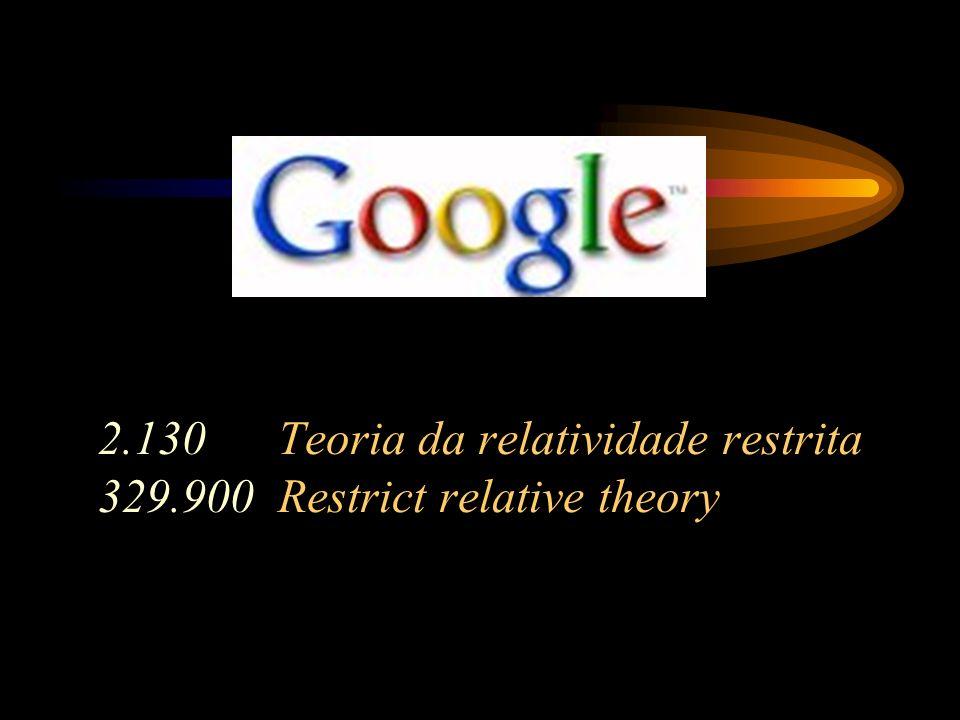 2.130 Teoria da relatividade restrita 329.900 Restrict relative theory