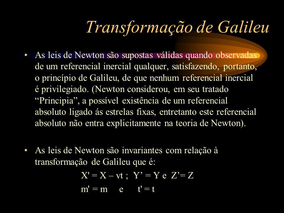 Transformação de Galileu As leis de Newton são supostas válidas quando observadas de um referencial inercial qualquer, satisfazendo, portanto, o princ