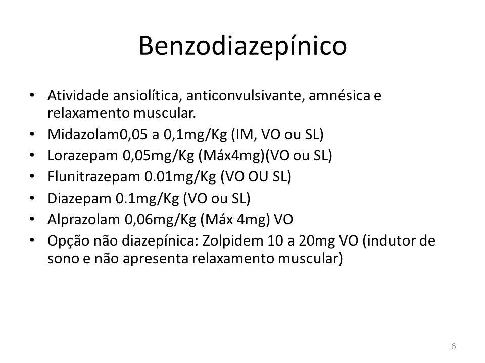 0pióide 1)Nalbufina 0,5 a 1µg Kg -1 EV 2)Fentanil EV: 0,2µg Kg -1 IM 0,3µg Kg -1 0,5 a 1ug Kg -1 transdérmico Duradesic® 3)Sufentanil nasal: 0,03µgKg 4)Tramadol EV: 0,5 mg Kg –1 IM: 1mg Kg -1 VO: meia gota Kg -1 20gts= 50mg 5)Morfina 0,05mg Kg VO ou IM SC: 0,1 a 0,15mg Kg -1 6)Meperidina EV: 0,5 a 1mg Kg -1 ou IM: 1 a1,5 mg Kg -1 7