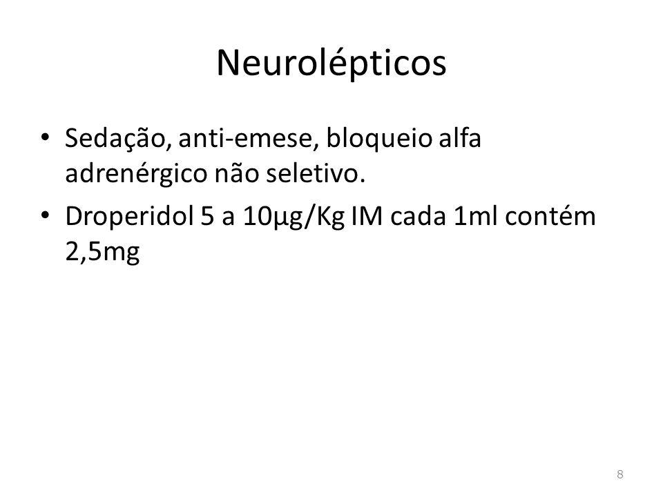 Anti-histamínicos H 1 Sedativos, anticolinérgico e antialérgicos e antieméticos Prometazina 0,25mg/KG IM(Fenergan®) dimenidrato de sódio (Dramin®) difenidramina(Difendrin) 25 a 50mg IM 9