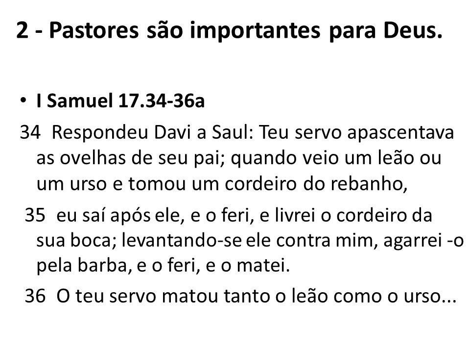 I Samuel 17.34-36a 34 Respondeu Davi a Saul: Teu servo apascentava as ovelhas de seu pai; quando veio um leão ou um urso e tomou um cordeiro do rebanh