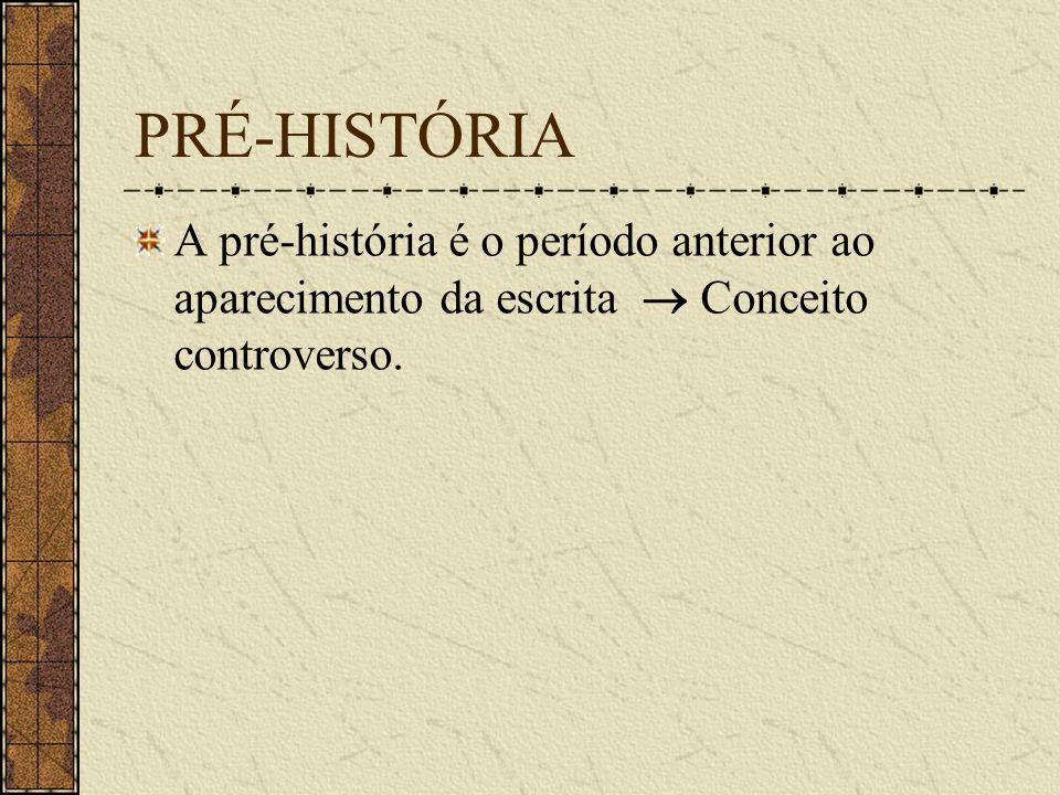 PRÉ-HISTÓRIA A pré-história é o período anterior ao aparecimento da escrita Conceito controverso.