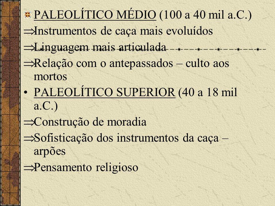 PALEOLÍTICO MÉDIO (100 a 40 mil a.C.) Instrumentos de caça mais evoluídos Linguagem mais articulada Relação com o antepassados – culto aos mortos PALE