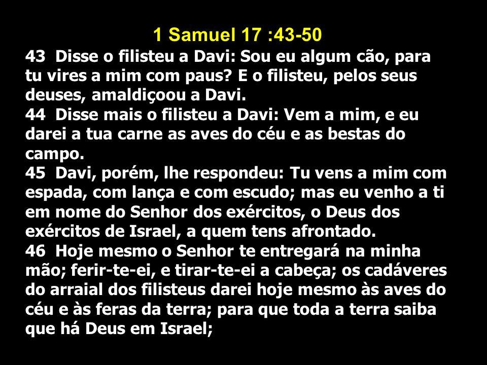1 Samuel 17 :43-50 43 Disse o filisteu a Davi: Sou eu algum cão, para tu vires a mim com paus? E o filisteu, pelos seus deuses, amaldiçoou a Davi. 44