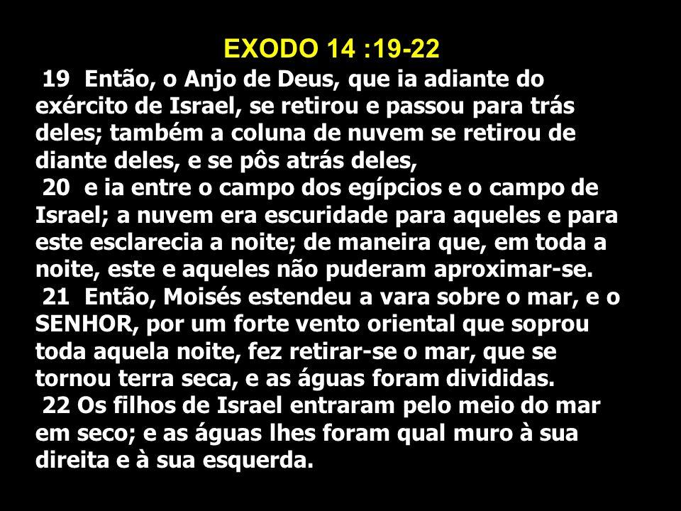 EXODO 14 :19-22 19 Então, o Anjo de Deus, que ia adiante do exército de Israel, se retirou e passou para trás deles; também a coluna de nuvem se retir