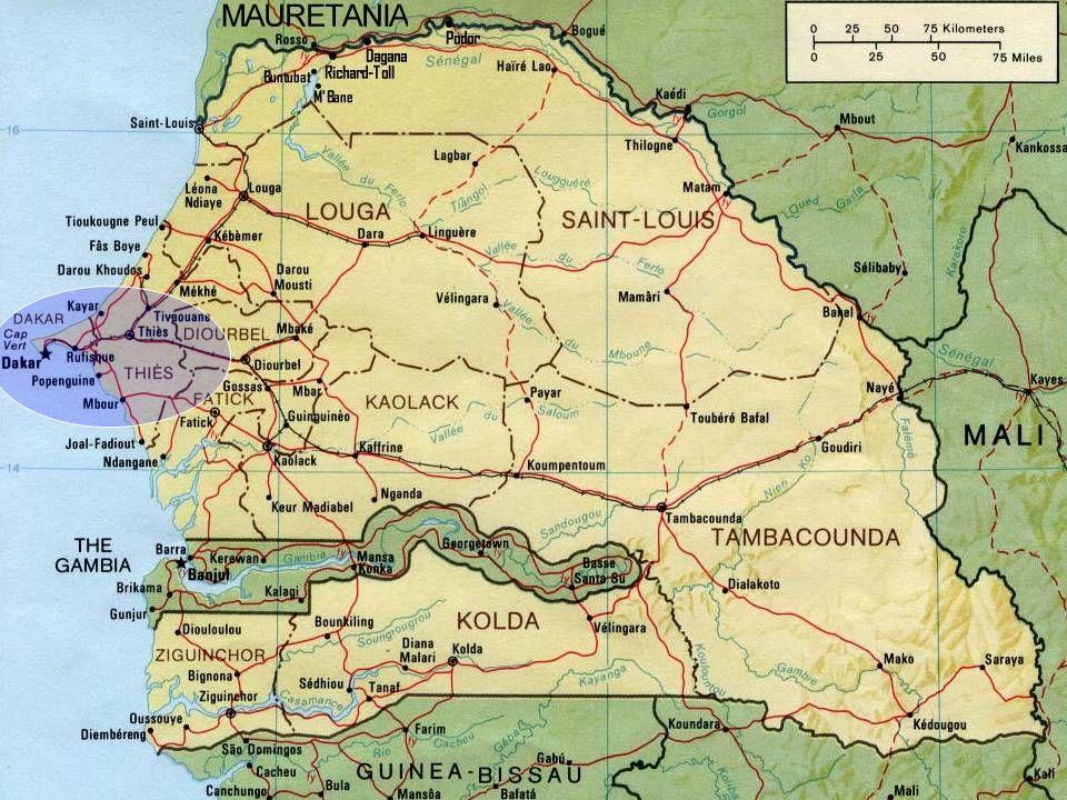 SENEGAL Capital: Dakar Superfície: 196.722 km² População: 11,5 milhões de habitantes Religião: Muçulmanos 92%, animistas 6%, Católicos 2%, evangélicos 0,1%