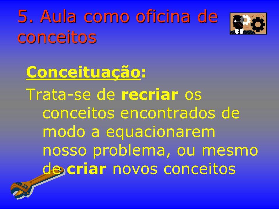 5. Aula como oficina de conceitos Conceituação: Trata-se de recriar os conceitos encontrados de modo a equacionarem nosso problema, ou mesmo de criar