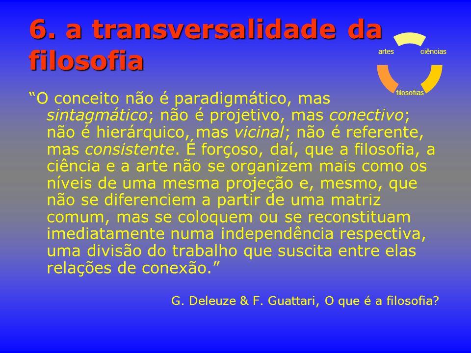 6. a transversalidade da filosofia O conceito não é paradigmático, mas sintagmático; não é projetivo, mas conectivo; não é hierárquico, mas vicinal; n