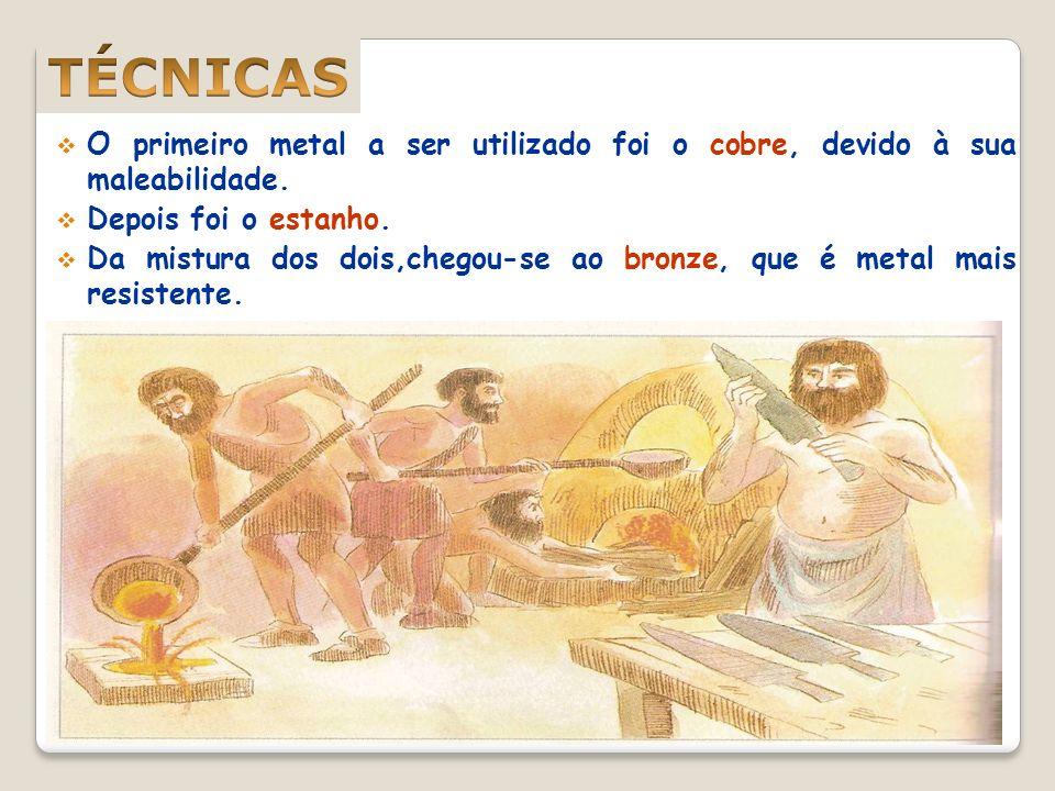 O primeiro metal a ser utilizado foi o cobre, devido à sua maleabilidade.