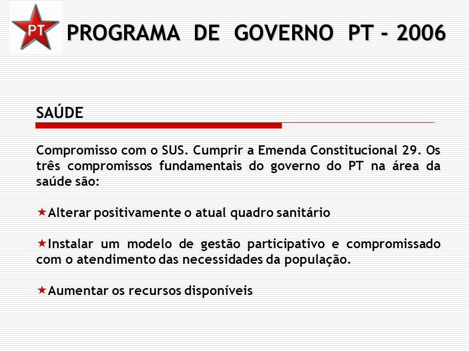PROGRAMA DE GOVERNO PT - 2006 SAÚDE Compromisso com o SUS. Cumprir a Emenda Constitucional 29. Os três compromissos fundamentais do governo do PT na á