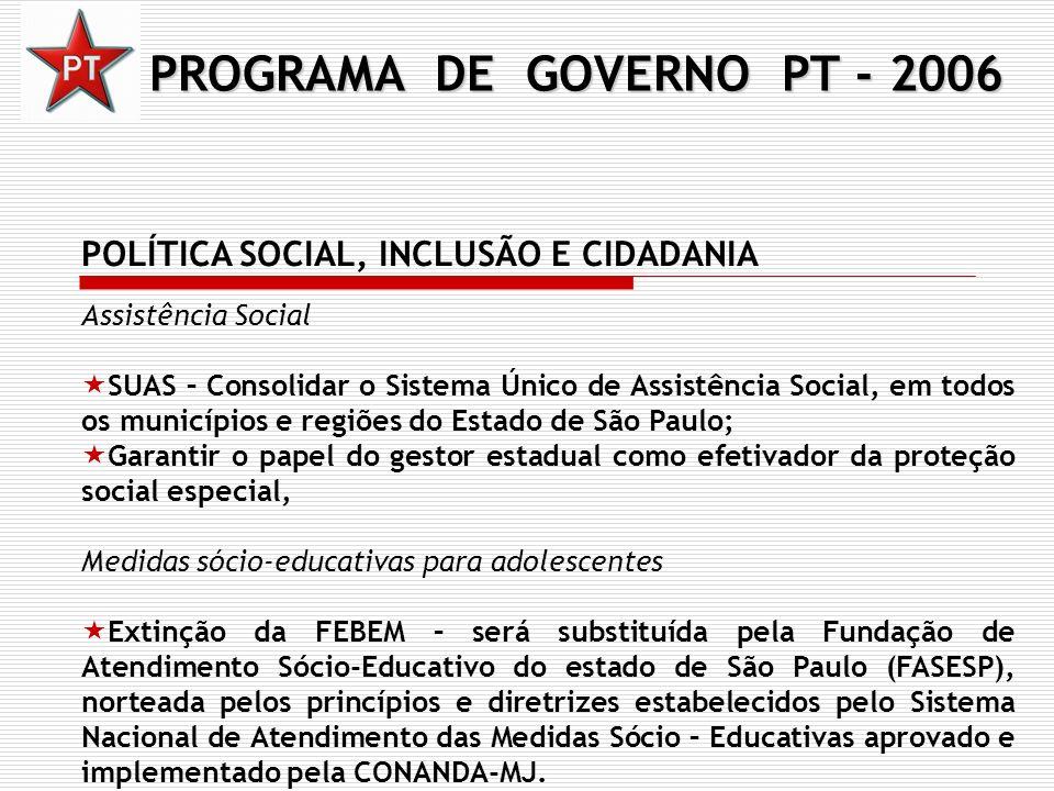 PROGRAMA DE GOVERNO PT - 2006 POLÍTICA SOCIAL, INCLUSÃO E CIDADANIA Assistência Social SUAS – Consolidar o Sistema Único de Assistência Social, em tod