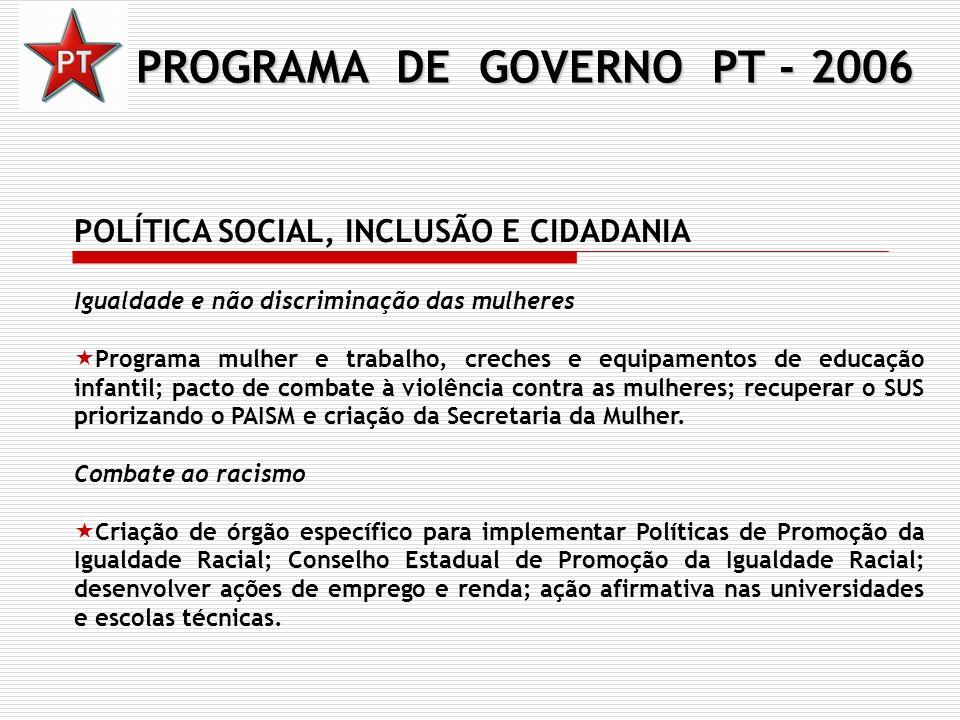 PROGRAMA DE GOVERNO PT - 2006 POLÍTICA SOCIAL, INCLUSÃO E CIDADANIA Igualdade e não discriminação das mulheres Programa mulher e trabalho, creches e e