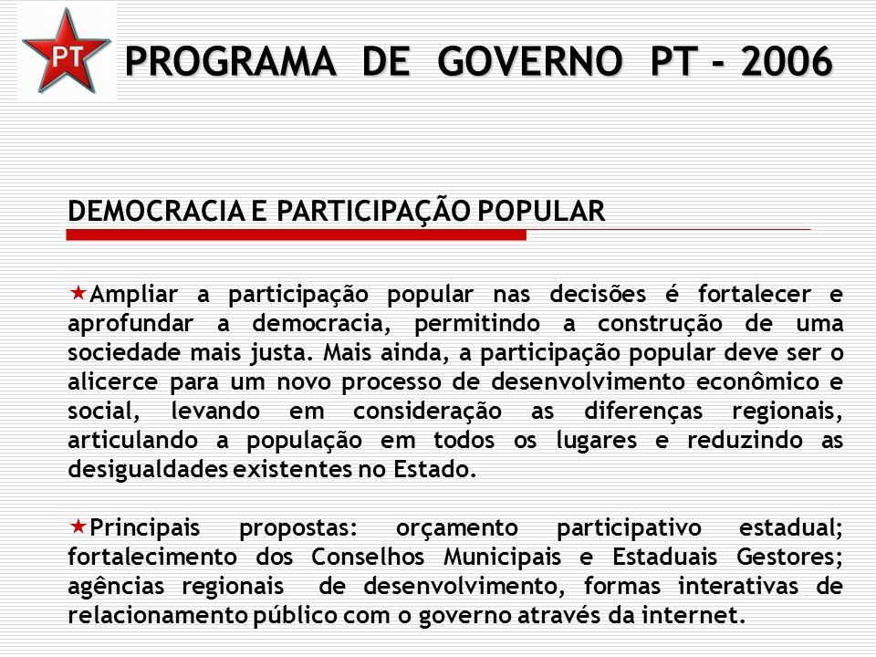 PROGRAMA DE GOVERNO PT - 2006 DEMOCRACIA E PARTICIPAÇÃO POPULAR Ampliar a participação popular nas decisões é fortalecer e aprofundar a democracia, pe