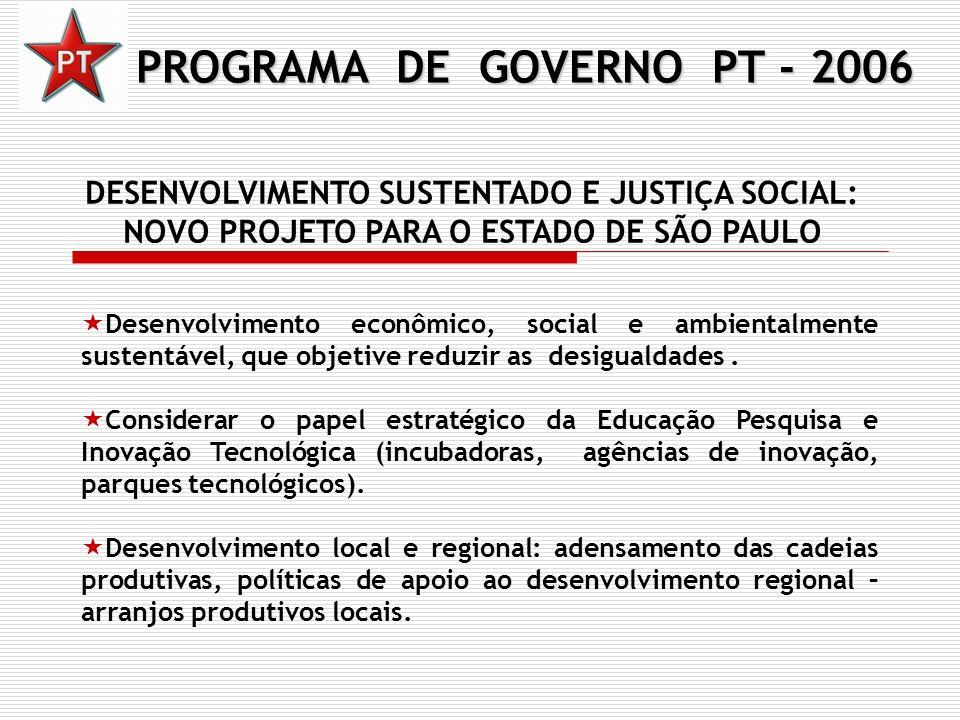 PROGRAMA DE GOVERNO PT - 2006 DESENVOLVIMENTO SUSTENTADO E JUSTIÇA SOCIAL: NOVO PROJETO PARA O ESTADO DE SÃO PAULO Desenvolvimento econômico, social e