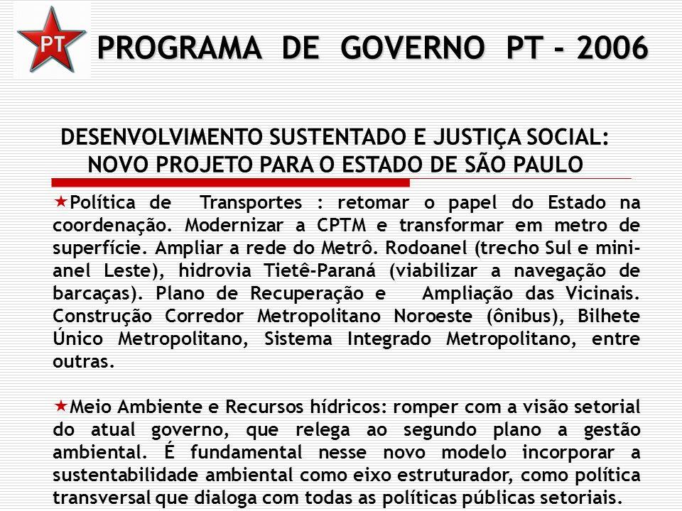 PROGRAMA DE GOVERNO PT - 2006 DESENVOLVIMENTO SUSTENTADO E JUSTIÇA SOCIAL: NOVO PROJETO PARA O ESTADO DE SÃO PAULO Política de Transportes : retomar o