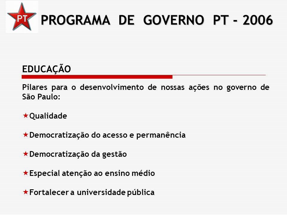 PROGRAMA DE GOVERNO PT - 2006 EDUCAÇÃO Pilares para o desenvolvimento de nossas ações no governo de São Paulo: Qualidade Democratização do acesso e pe