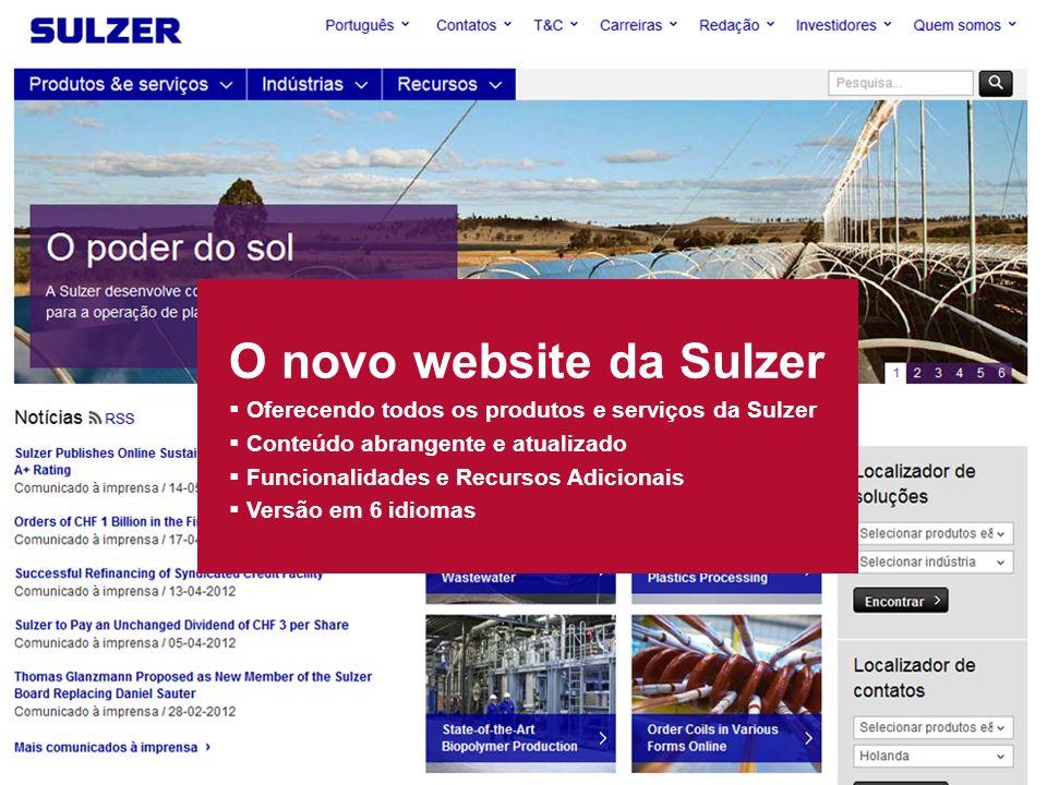 Novo website da Sulzer 2 slide O novo website da Sulzer Oferecendo todos os produtos e serviços da Sulzer Conteúdo abrangente e atualizado Funcionalidades e Recursos Adicionais Versão em 6 idiomas