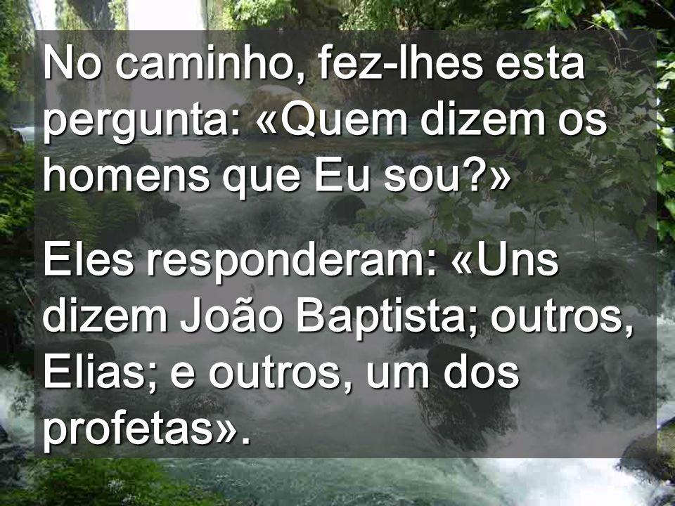 No caminho, fez-lhes esta pergunta: «Quem dizem os homens que Eu sou?» Eles responderam: «Uns dizem João Baptista; outros, Elias; e outros, um dos profetas».