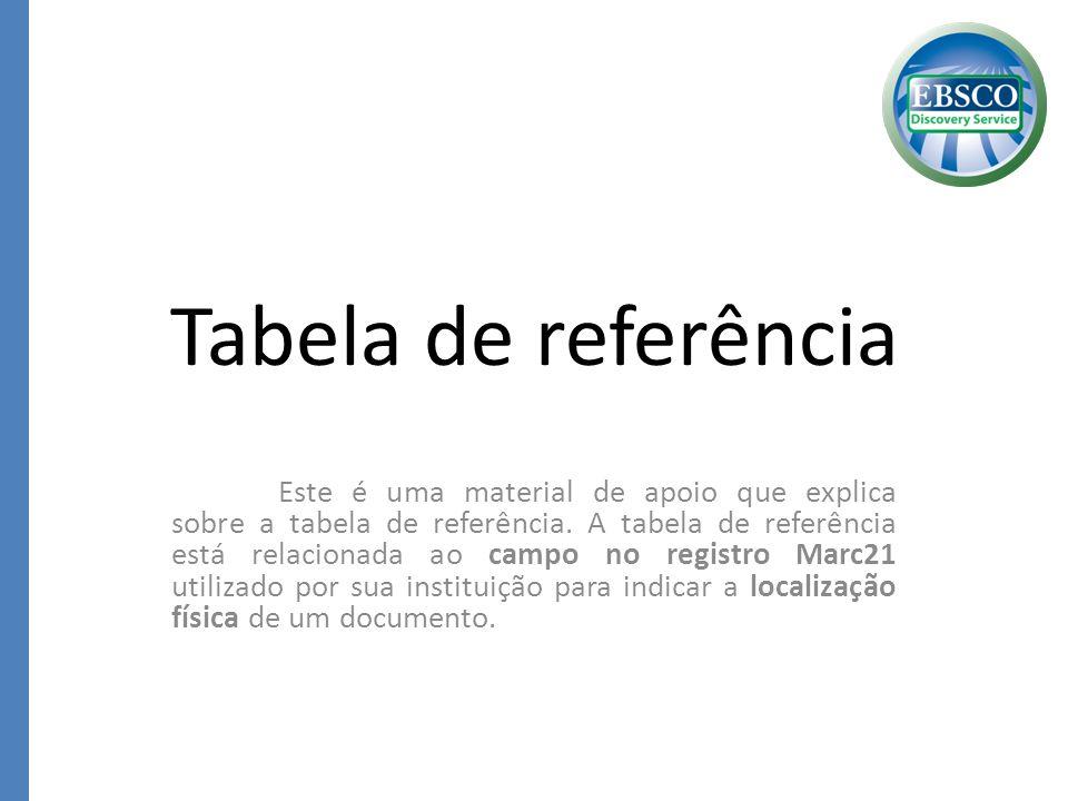 Tabela de referência Este é uma material de apoio que explica sobre a tabela de referência. A tabela de referência está relacionada ao campo no regist