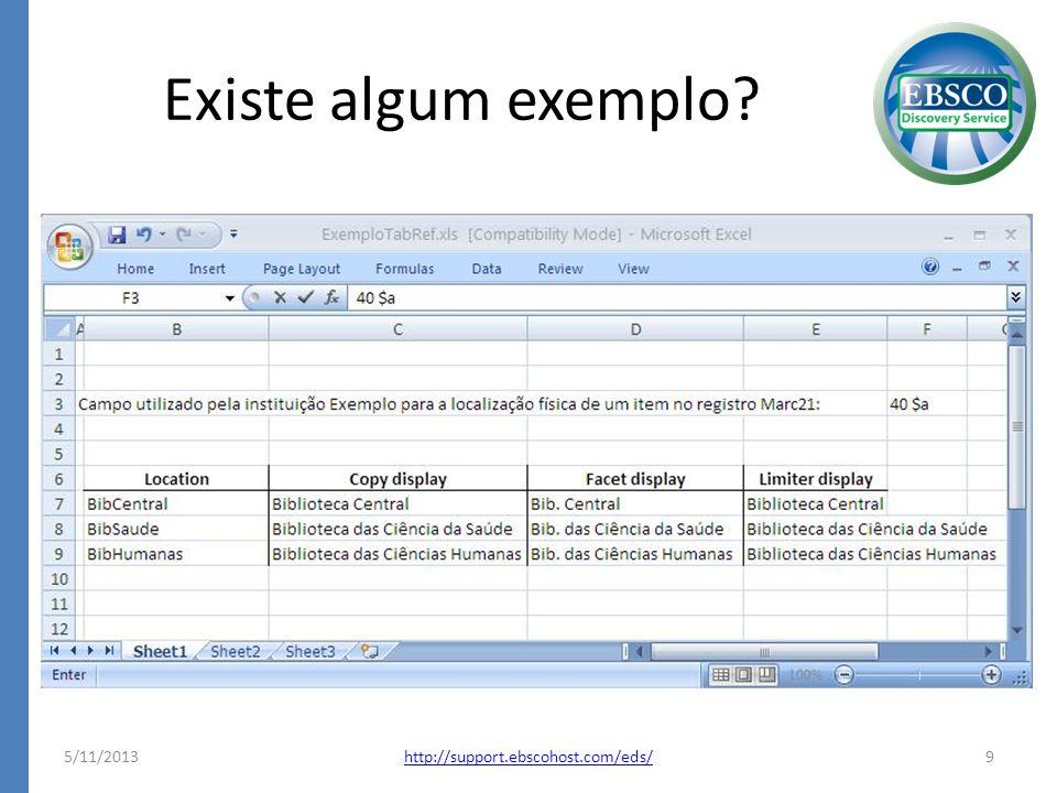 Existe algum exemplo? 5/11/20139http://support.ebscohost.com/eds/