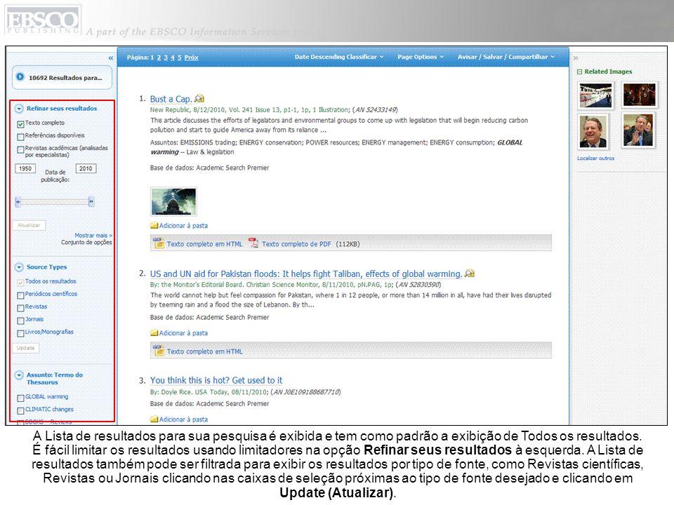 Você pode imprimir, enviar por e-mail, salvar, citar ou exportar um único resultado do Registro detalhado ao clicar no link de um título.