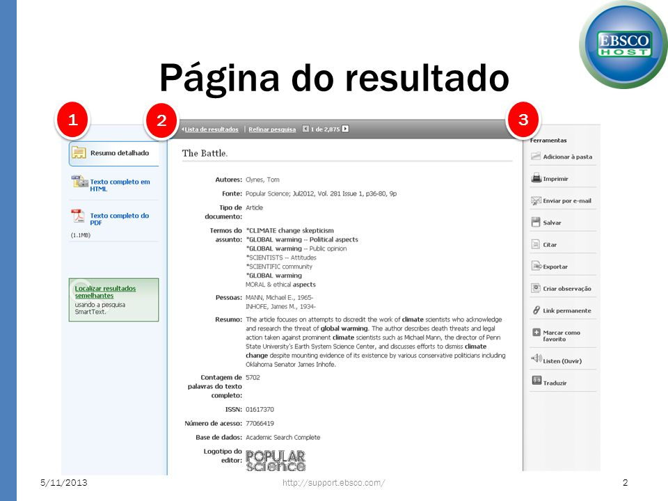 Página do resultado http://support.ebsco.com/5/11/20132 1 1 2 2 3 3