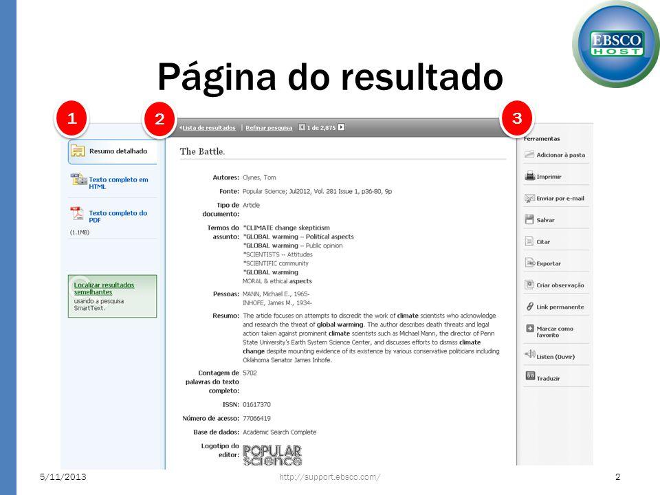 Página do resultado O lado esquerdo apresenta as formas de visualização e a busca por resultados semelhantes http://support.ebsco.com/5/11/20133