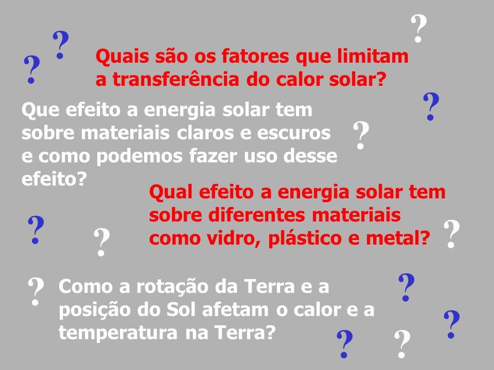 Quais são os fatores que limitam a transferência do calor solar? Como a rotação da Terra e a posição do Sol afetam o calor e a temperatura na Terra? ?