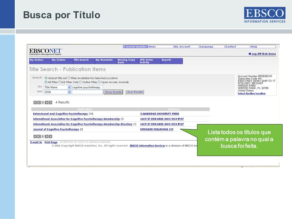 More features… Missing Copy Bank: -Searches can include titles in the EBSCO Missing Copy Bank -Printable list of Missing Copy Bank titles is also accessible on EBSCONET -Results can be sorted, filtered and used for title selection to place orders for missing issues -free service to EBSCO customers.