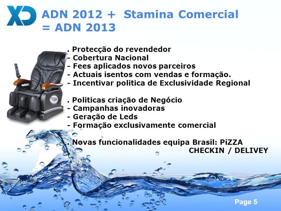 Page 5 ADN 2012 + Stamina Comercial = ADN 2013. Protecção do revendedor - Cobertura Nacional - Fees aplicados novos parceiros - Actuais isentos com ve