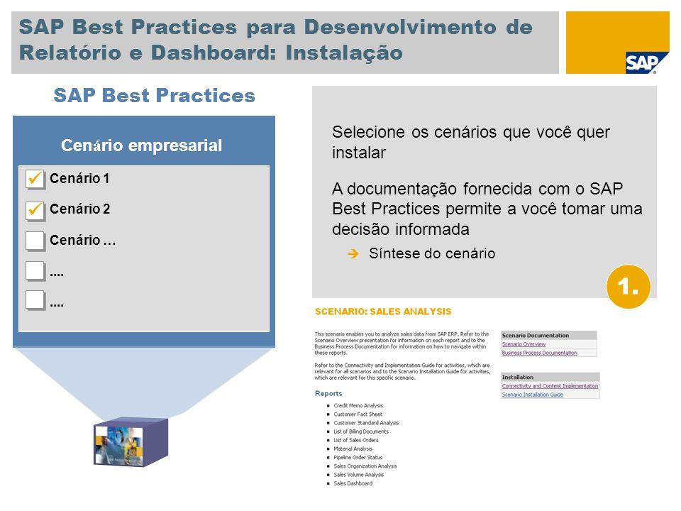 SAP Best Practices para Desenvolvimento de Relatório e Dashboard: Instalação Selecione os cenários que você quer instalar A documentação fornecida com