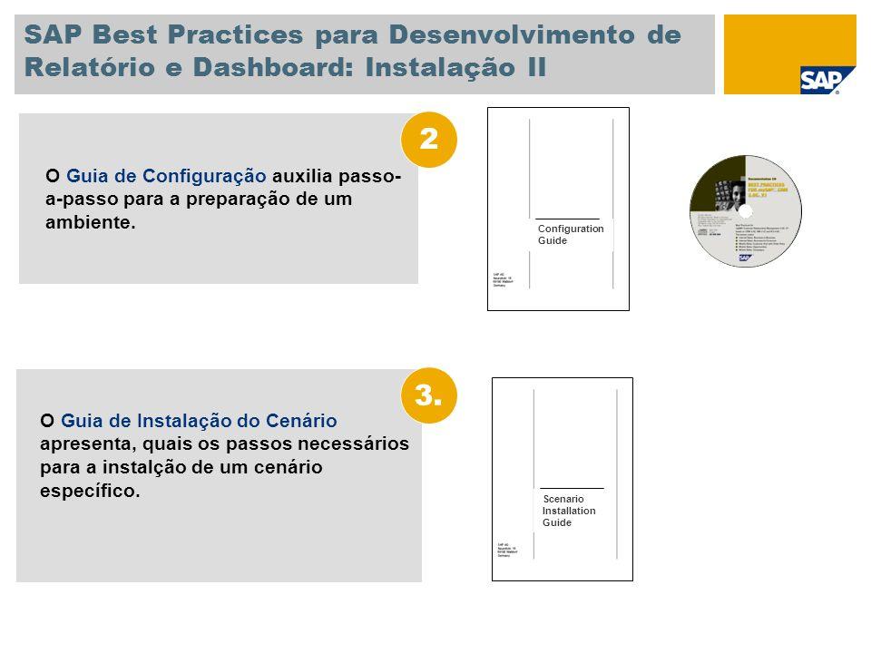 SAP Best Practices para Desenvolvimento de Relatório e Dashboard: Instalação II O Guia de Instalação do Cenário apresenta, quais os passos necessários